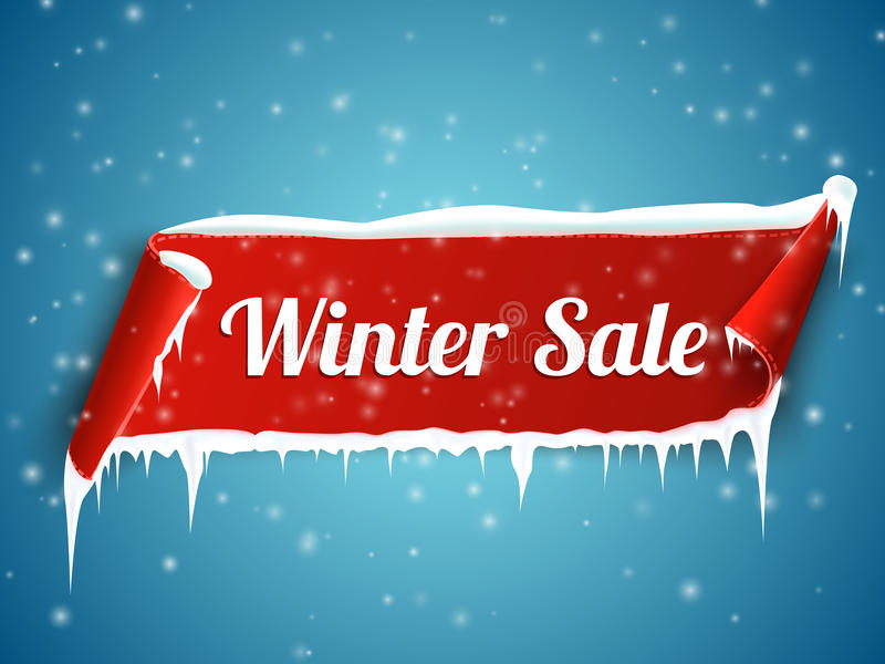 Winter sale background with red realistic ribbon banner and snow. stock illustration