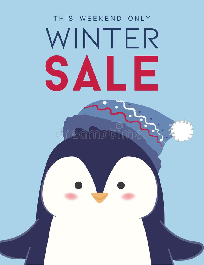 Winter sale banner design with Penguin royalty free stock photo