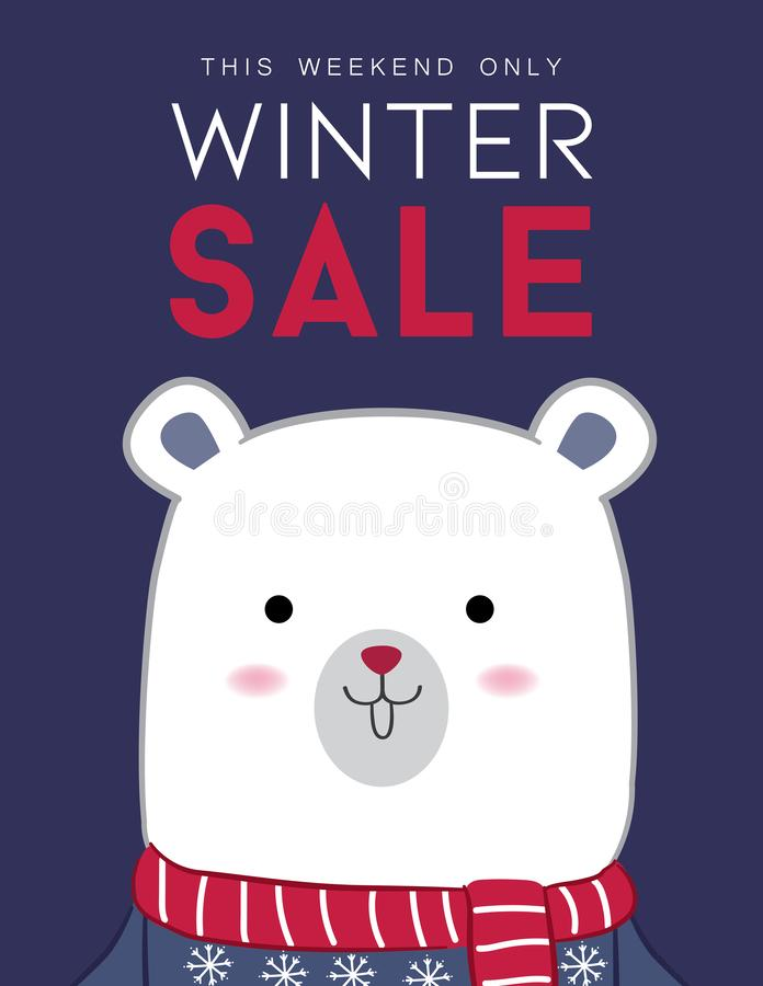 Winter sale banner design with Polar bear royalty free stock images