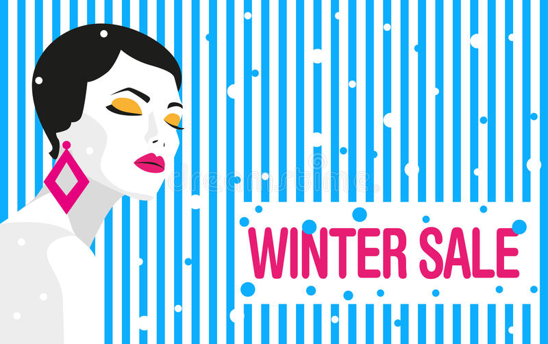 Winter sale. Banner. Fashion girl. Bold, minimal style. Pop Art. OpArt, positive negative space and colour. Trendy strips. Vector illustration - stock vector royalty free illustration
