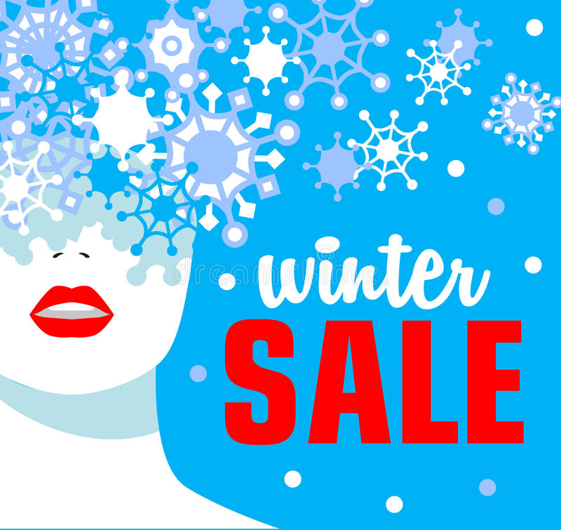Winter sale. Banner. Fashion girl with snowflakes. Bold, minimal style. vector illustration