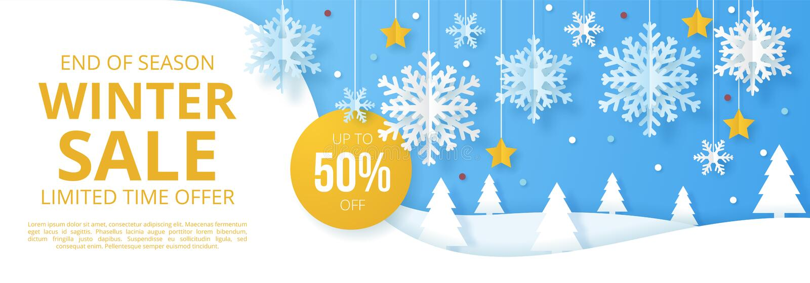 Winter sale banner. Origami snowfall. Vector Illustration vector illustration