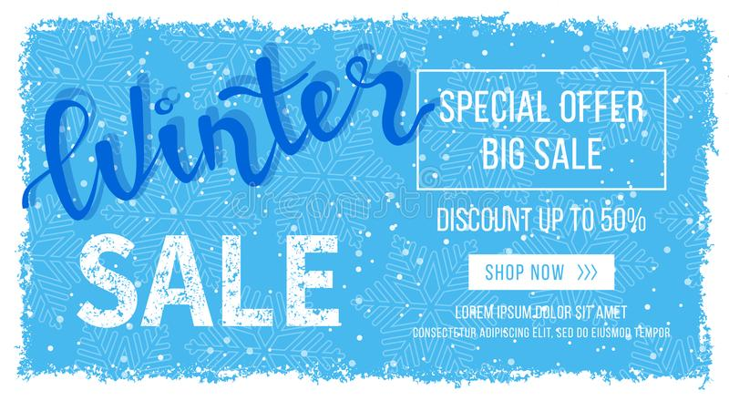 Winter sale banner, poster, flyer template in frame with blue snowflakes background, Snow frame. Special seasonal offer. Big Sale. stock illustration