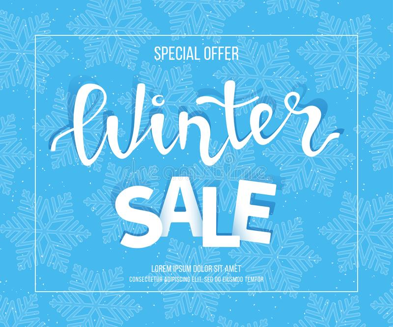 Winter Sale Banner Poster Flyer Template In Frame With Blue