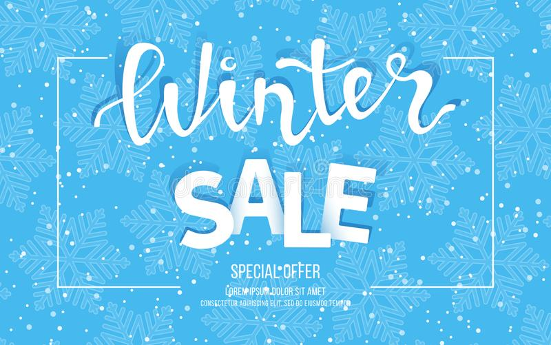 Winter sale banner, poster, flyer template in frame with blue snowflakes background. Special seasonal offer. Big Sale. royalty free illustration