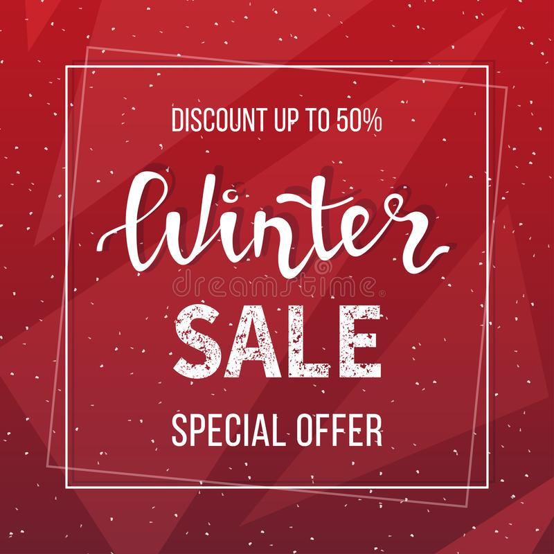 Winter Sale Banner Poster Flyer Template In Frame On Geometric