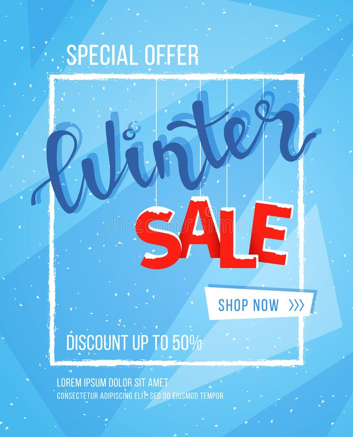 Winter Sale Banner Poster Flyer Template In Snow Frame With