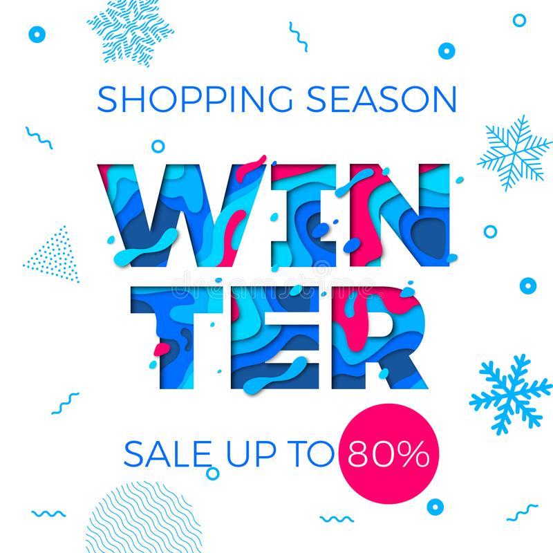 Winter sale banner seasonal holiday shopping discount promo vector offer vector illustration