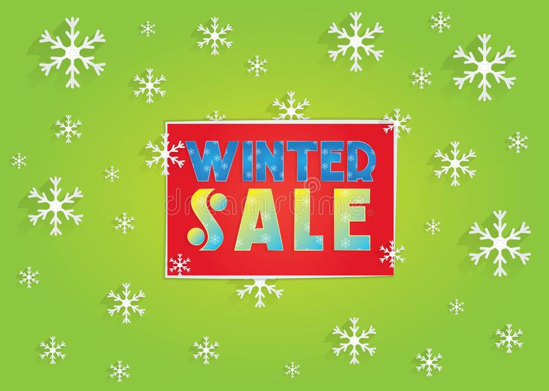Winter sale banner with snowflakes stock images