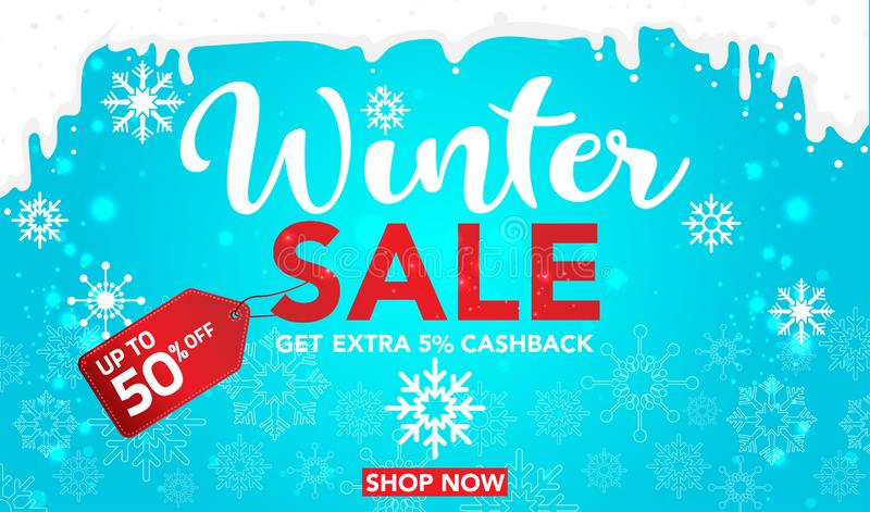 Winter sale banner template design with snow flakes up to 50% off. Super Sale, end of season special offer banner. vector illustra vector illustration