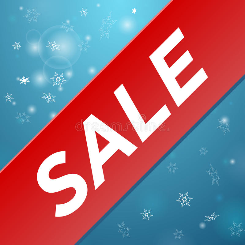 Winter sale big red ribbon. Sticker Winter Sale with big red ribbon stock illustration