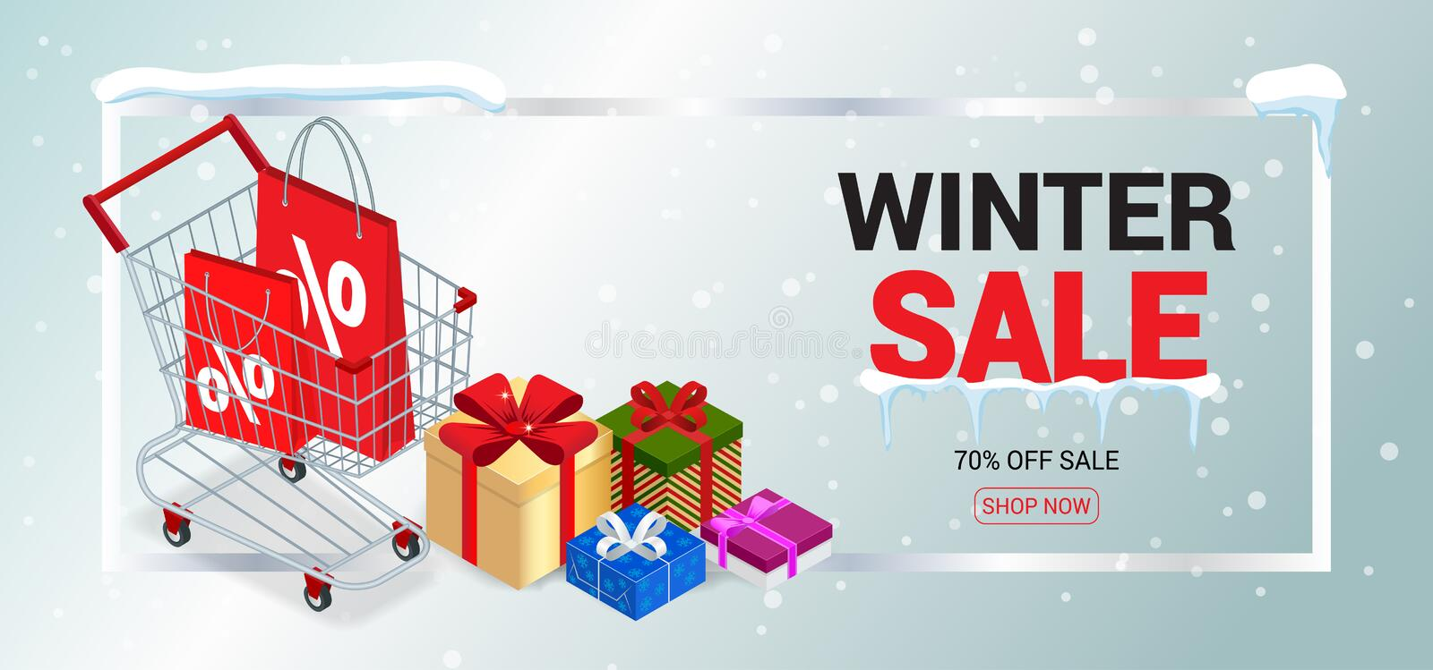 winter sale card or banner discount offer price label