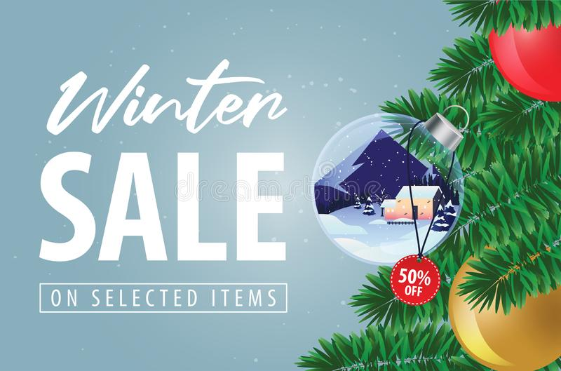 Winter sale with Christmas tree ornament such as crystal ball discount offer background, banner vector. Winter sale discount offer with Christmas tree ornament royalty free illustration