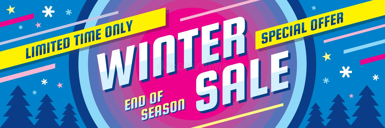 Winter sale - concept horizontal banner vector illustration. Abstract creative discount layout. Special offer. Graphic design. vector illustration