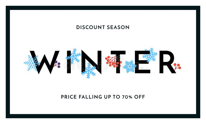 Winter sale discount season banner or poster design template. Vector winter holiday sale discount shopping text for price off redu stock illustration