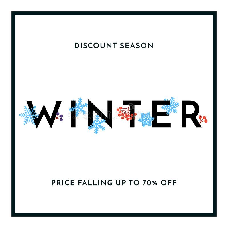 Winter sale discount season banner or poster with snowflakes design template. Vector winter holiday discount shopping text for pri stock illustration