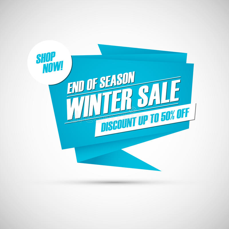 Winter Sale. End of season special offer banner, discount up to 50% off. Shop now! stock illustration