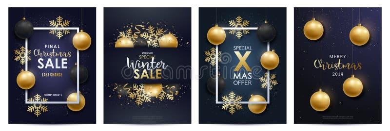 Winter sale flayers set. stock illustration