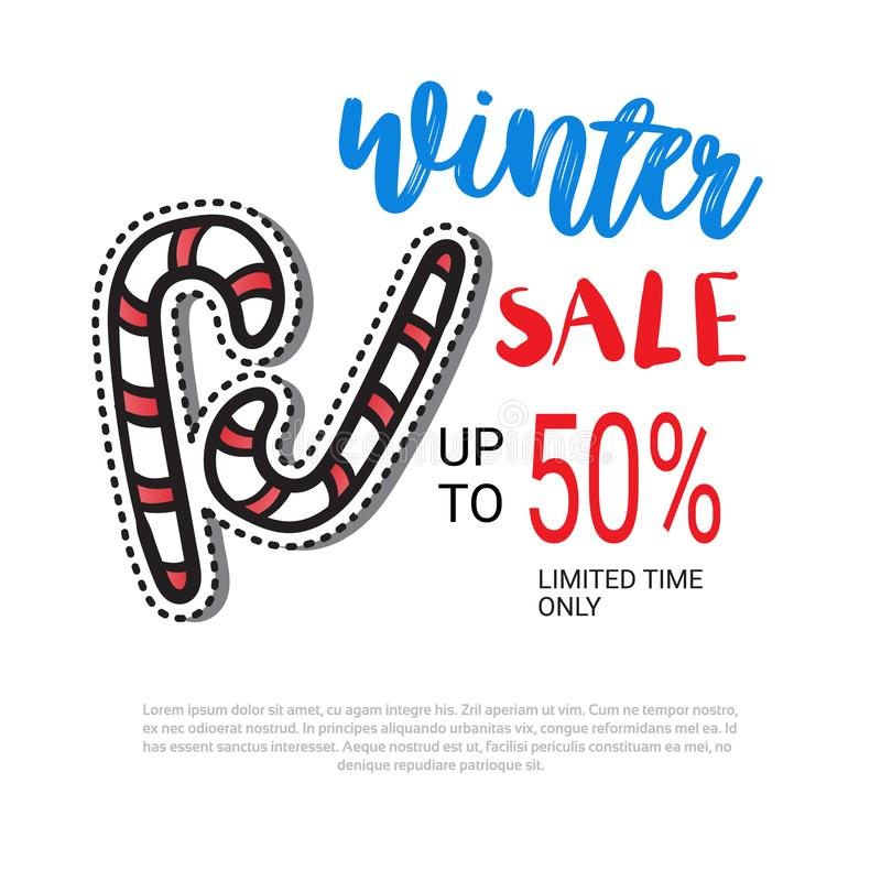 Winter sale flyer design candy cane decoration stick season shopping template special discount poster over white vector illustration