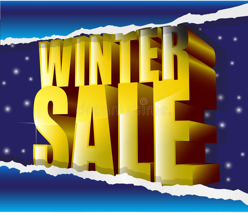 Winter Sale Golden Sign On Snow Background Stock Photography