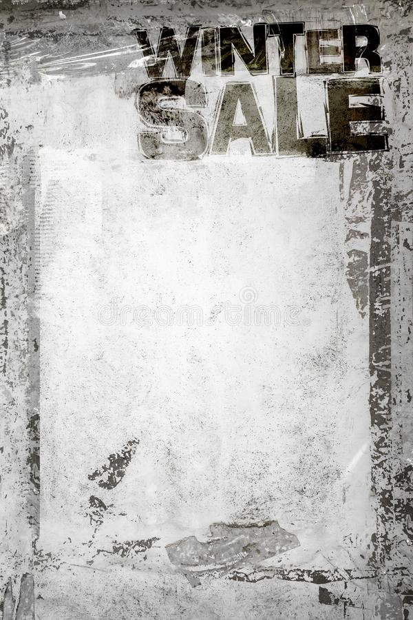 Winter Sale Grunge Background. With grungy frame and remains of scotch tape and cellophane. Fully . Dirty artistic design element, box, frame for text. Doodle stock photo