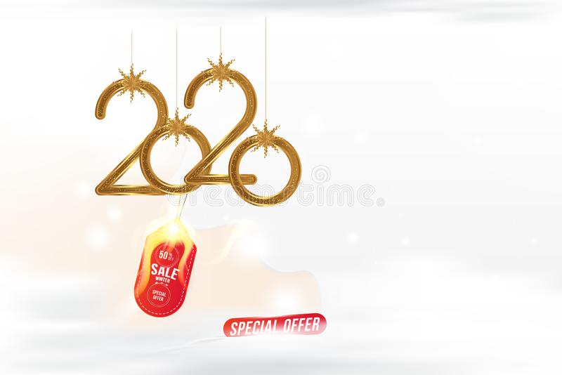 Winter Sale 50 hot offer. 2020 Chinese new year of the Rat. Greeting card with golden elements with snow and clouds and red label vector illustration