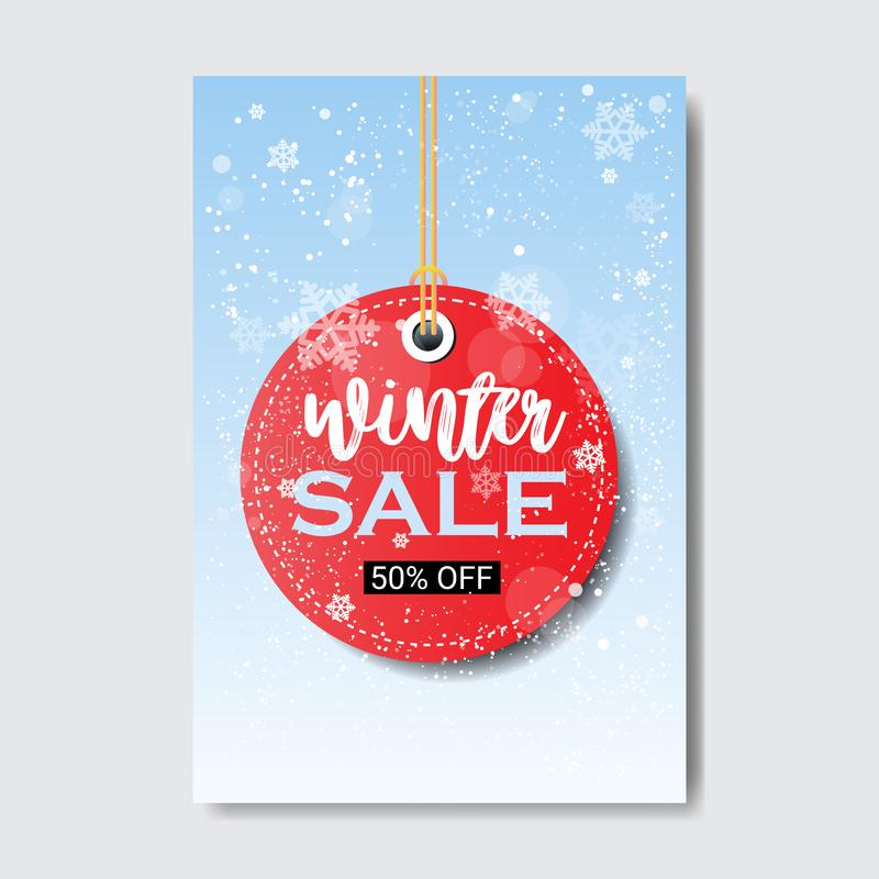 Winter sale lettering design round price tag season shopping template special discount offer concept vertical poster. Flat vector illustration royalty free illustration