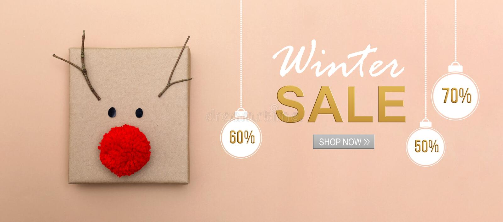 Winter sale message with a reindeer gift box stock images