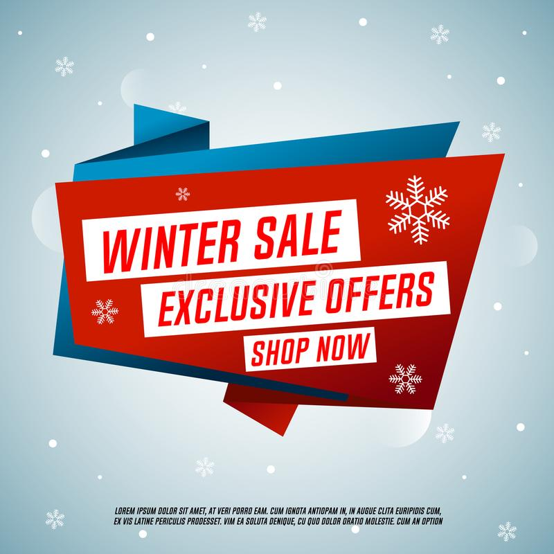 Winter sale origami banner. Exclusive offers. Shop now. royalty free illustration