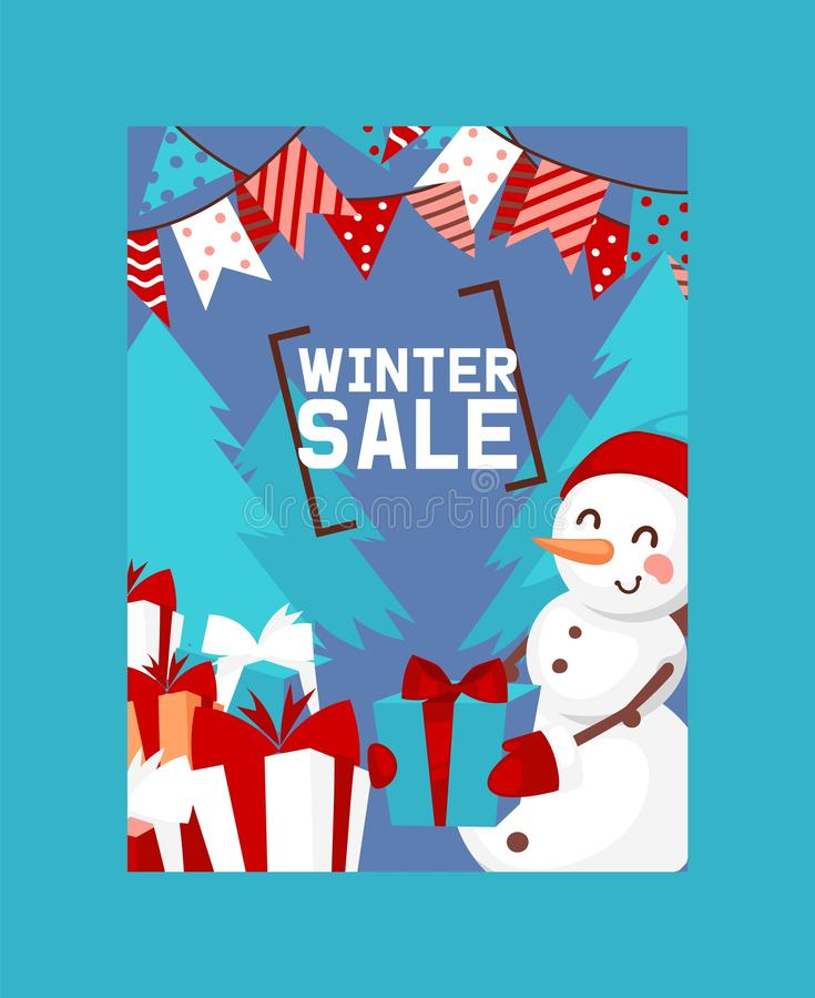 Winter sale poster vector illustration. Happy New Year card. Nature landscape with Christmas tree, snowman in hat and stock illustration