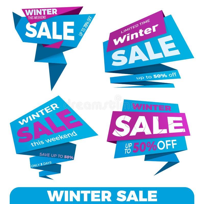Winter sale. Sale label price tag banner badge template sticker. Design. Vector illustration stock illustration