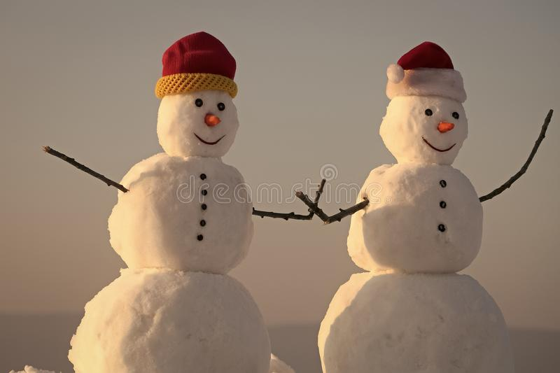 Winter sale. Snowman couple outdoor. stock images
