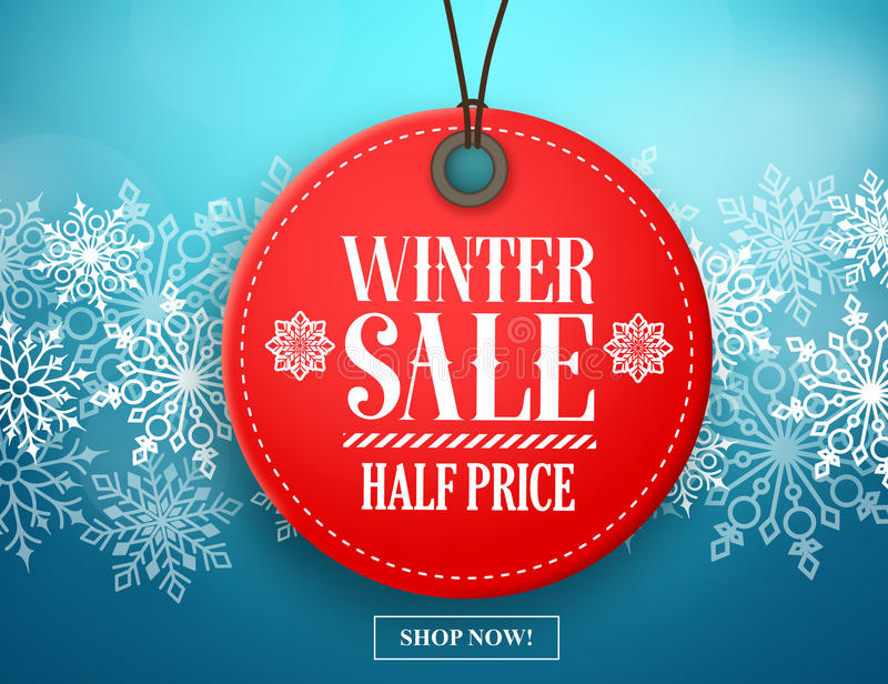 Winter sale tag vector banner. Red sale tag hanging in white winter snow flakes vector illustration
