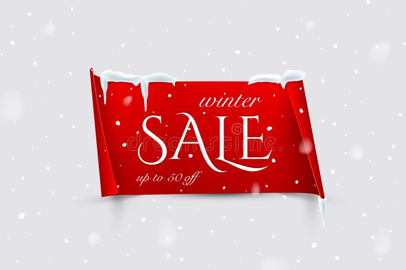Winter Sale text on red paper with curved edges isolated on snowfall background. Vector design template. Winter Sale text on red paper with curved edges vector illustration