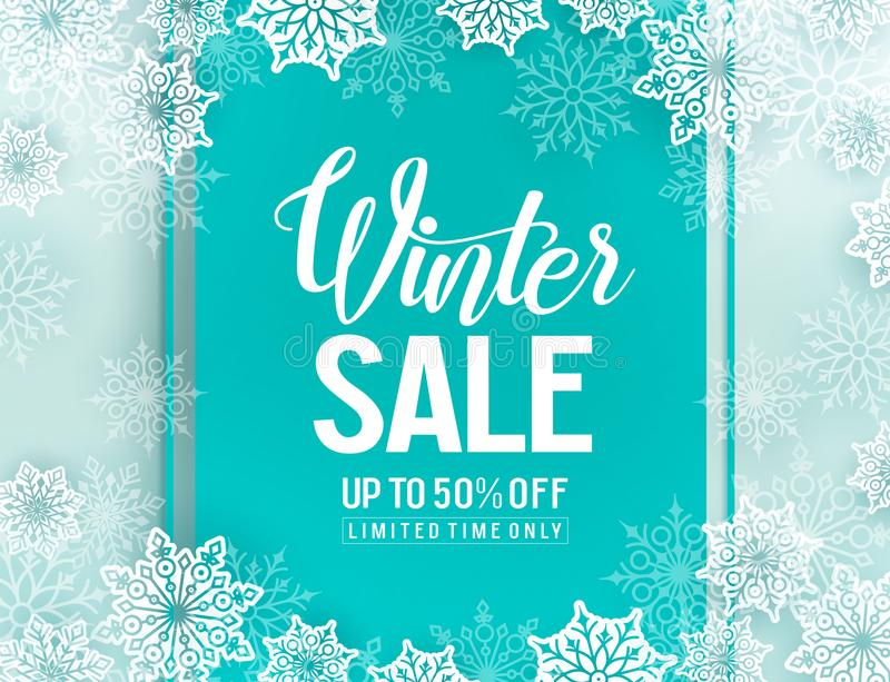Winter sale vector background template with snowflakes elements royalty free illustration