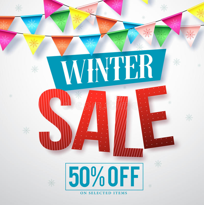 Winter sale vector banner design for promotions with hanging colorful streamers stock illustration