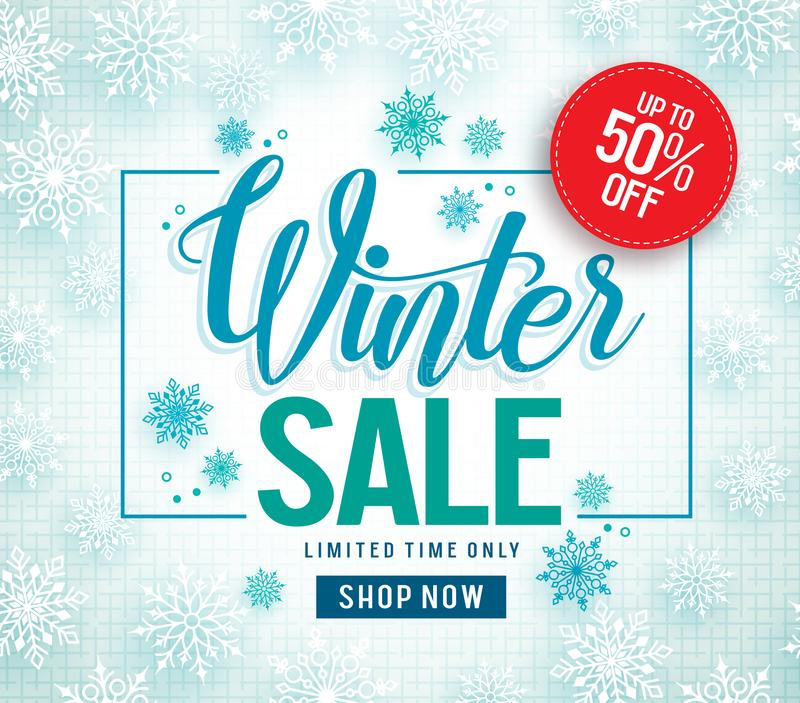 Winter sale vector banner design with white snowflakes elements and winter sale text vector illustration
