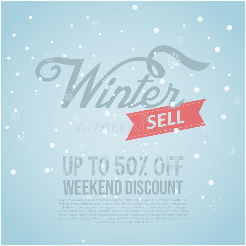 Winter sale banner special isolated vector image. winter sale text in snow pattern background for shopping promotion stock illustration