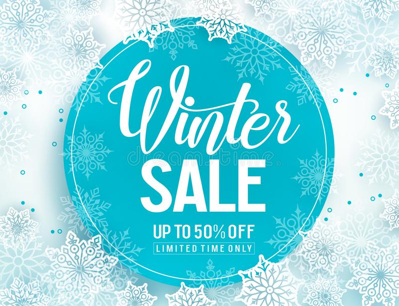 Winter sale vector banner template with white snowflakes background royalty free illustration