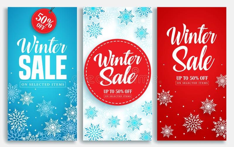 Winter sale vector poster or banner set with discount text and snow elements royalty free illustration