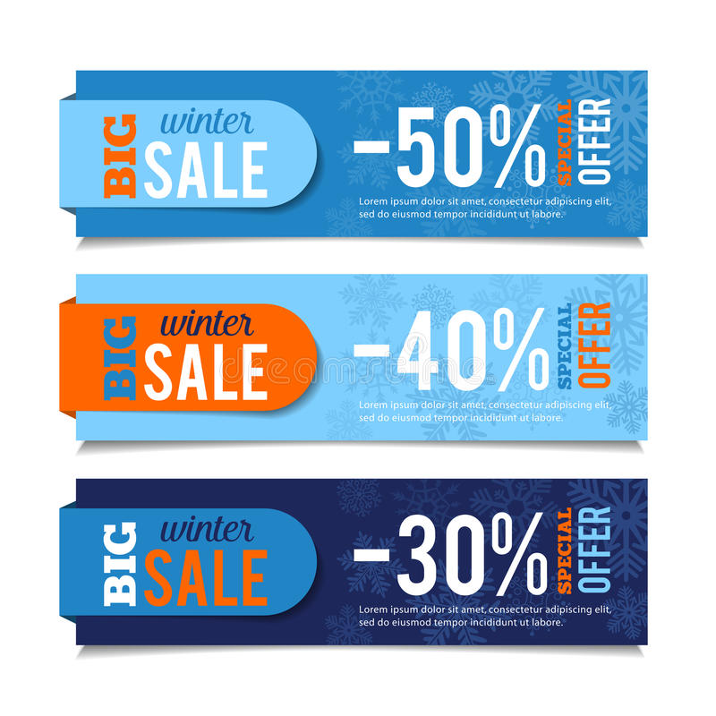 Winter Sales Banners stock illustration