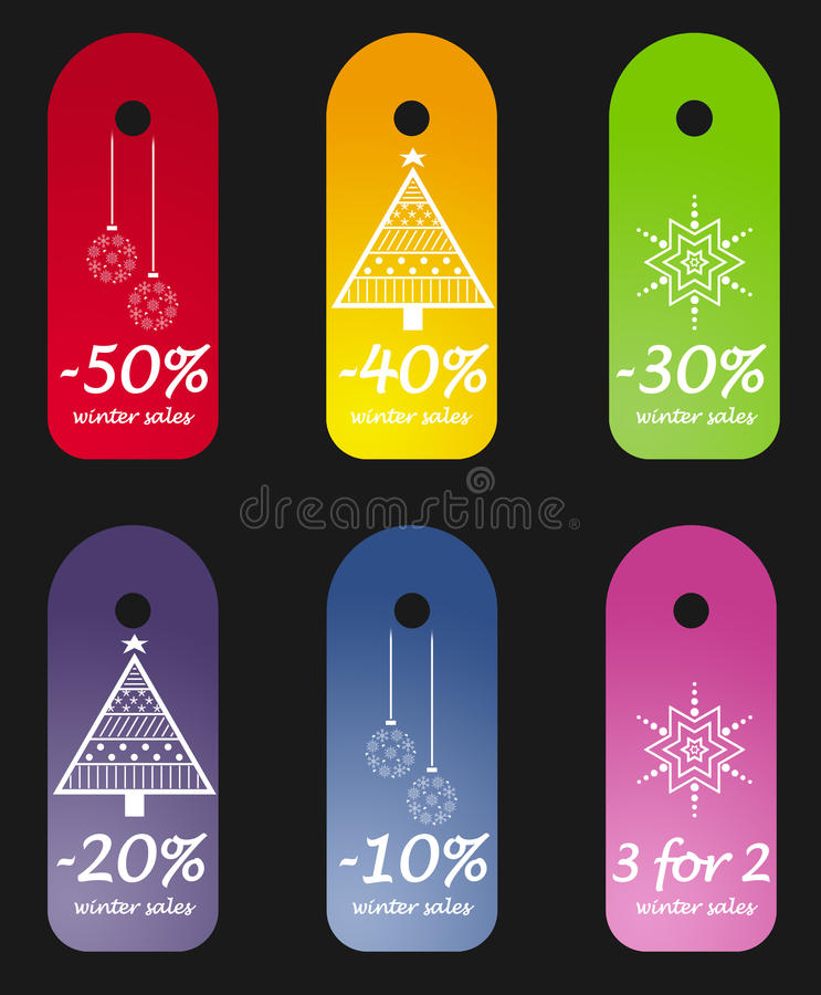 Winter sales tags stock photos