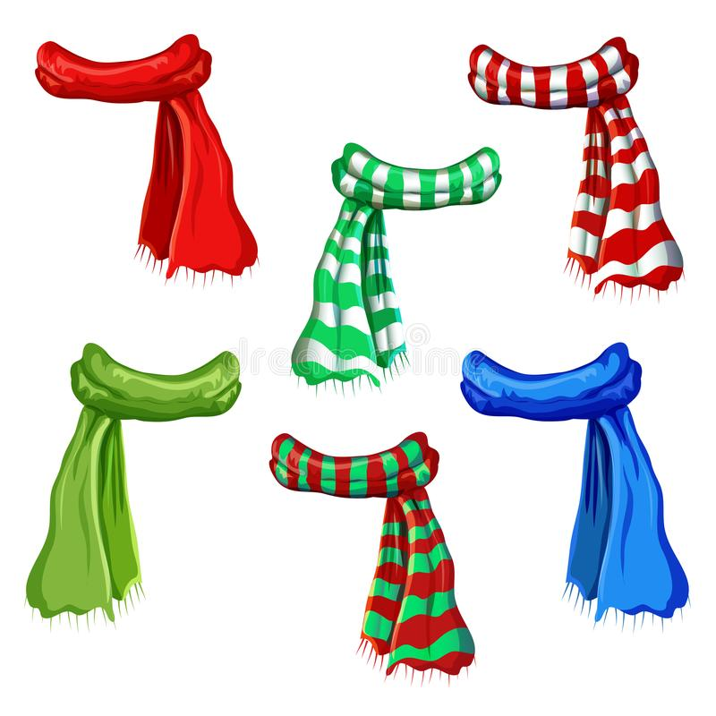 Winter scarf collection isolated on white background. illustration of red, green, striped scarfs. wool muffler icon set vector illustration