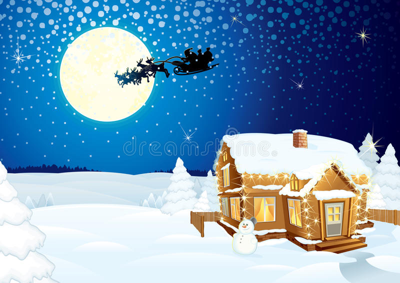 Download Winter Scene stock vector. Image of hill, house, bright - 17192711