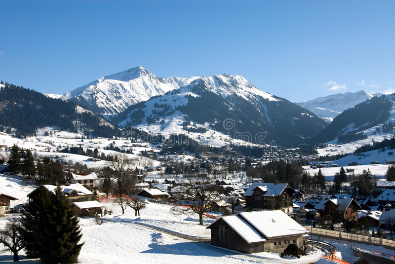Winter Scene. A winter scene in Gstaad, Switzerland stock image
