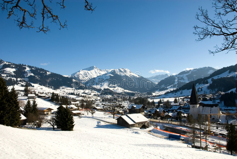 Winter Scene. A winter scene in Gstaad, Switzerland stock images