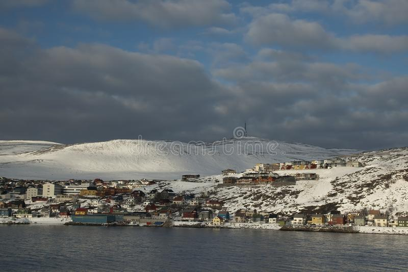 View of town from the water royalty free stock image