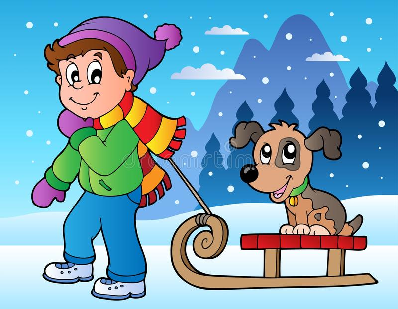 Download Winter Scene With Boy And Sledge Stock Vector - Image: 22073800