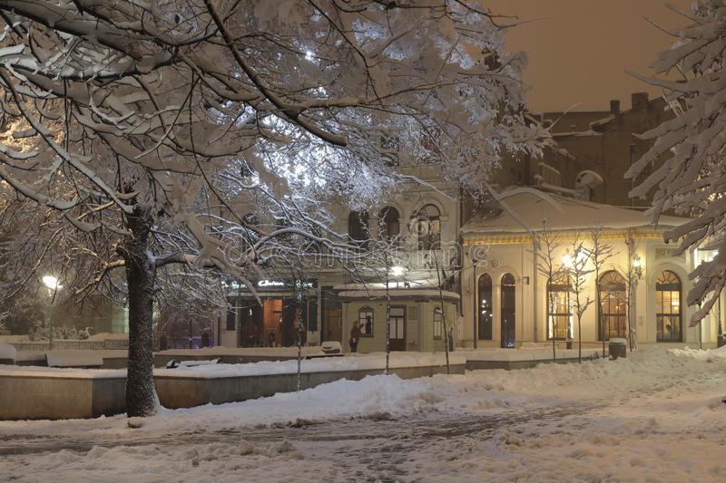 Winter scene in Bucharest royalty free stock images