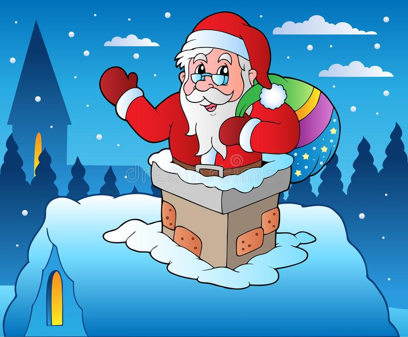 Winter scene with Christmas theme 4 vector illustration